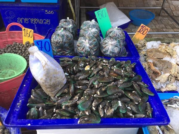 ムアンマイ市場のミドリイガイ