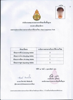 タイ語検定結果2012年