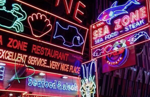 パタヤウォーキングストリートのシーフードレストラン