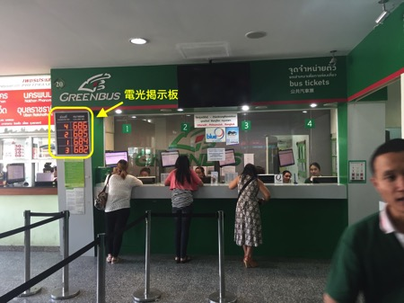 チェンマイバスターミナルグリーンバスの受付