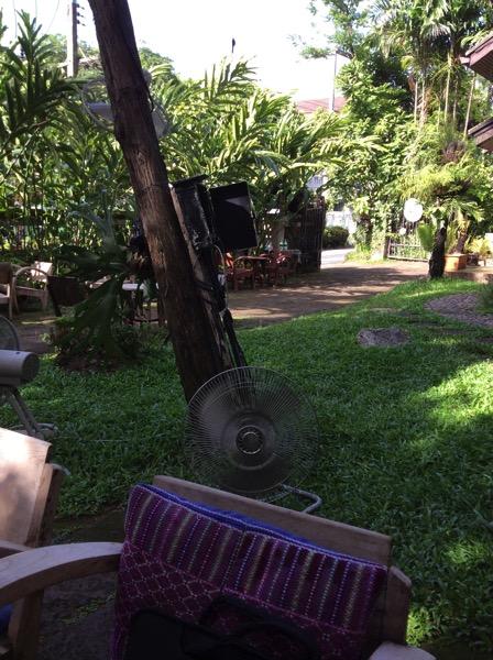 チェンマイのカフェの蚊よけの扇風機