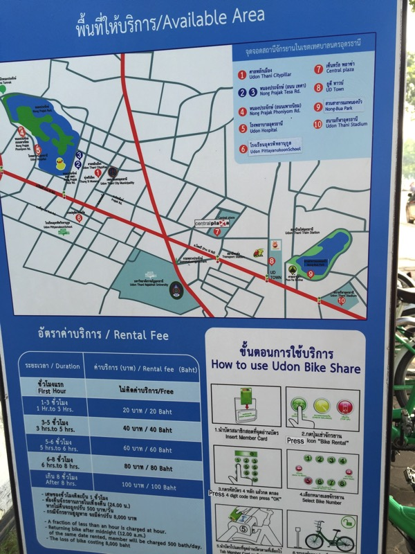 ウドンタニ市街にある自転車シェアリングステーションの地図