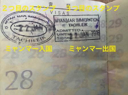 ミャンマー側の国境 タチレク に入国するときにスタンプと出国スタンプ
