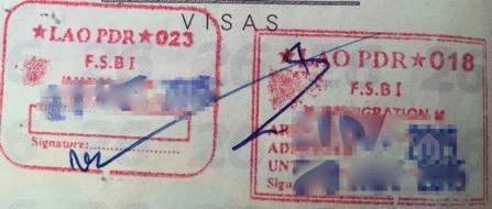 ラオスビエンチャンの入国出国スタンプ|2015年