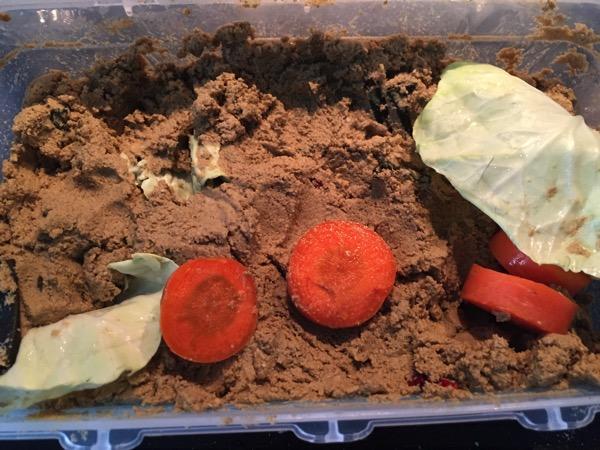 河村さんちの鉄粉ぬか床に捨て野菜を入れる