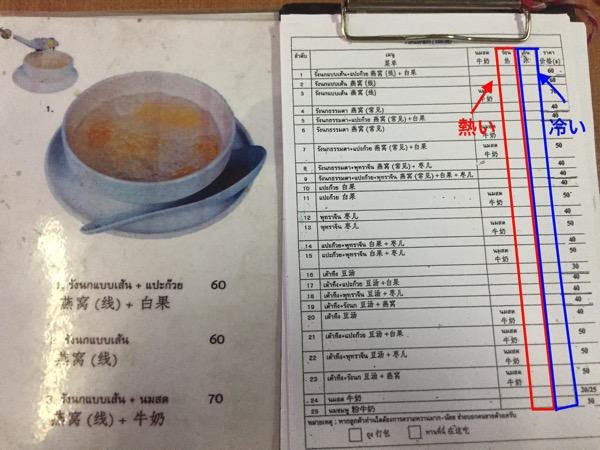 チェンマイのツバメの巣のデザート屋台のメニュー表 1