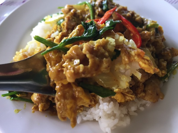 豚肉と卵のカレー炒め|カオラードムーパッポンカリーのアップの写真