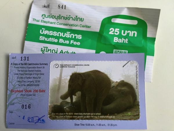 ラムパーン県象保護センターの象ショーチケット
