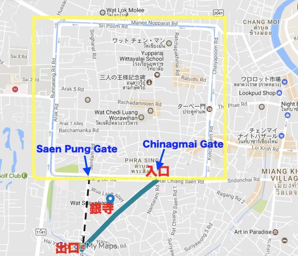 サタデーナイトマーケットの場所と行き方の地図