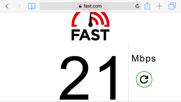 AISのSIM2Flyのスピードテスト結果
