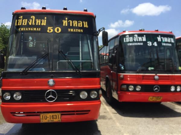 チェンマイ第一ターミナルから出ているタートン村行きバス