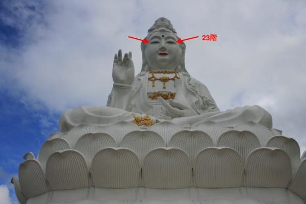 チェンライ県ワットフアイプラガンの観音像