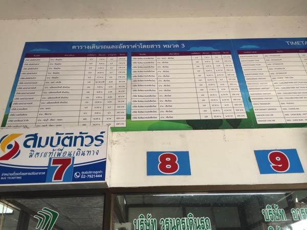 ナーン県のからチェンマイへ|グリーンバス時刻表