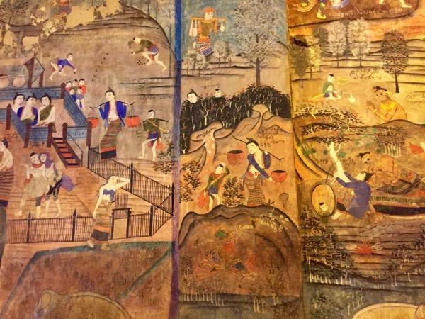 プーミン寺院の壁画昔のナーンの人々の暮らしぶり 1