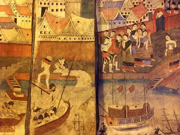 プーミン寺院の壁画昔のナーンの人々の暮らしぶり 2