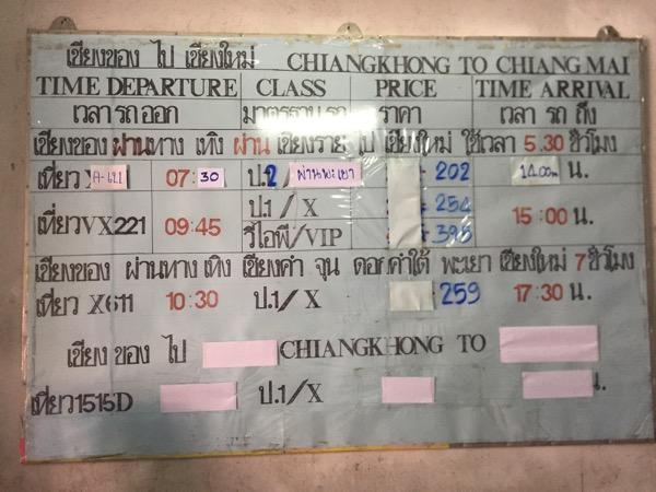 チェンコーンからチェンマイ時刻表