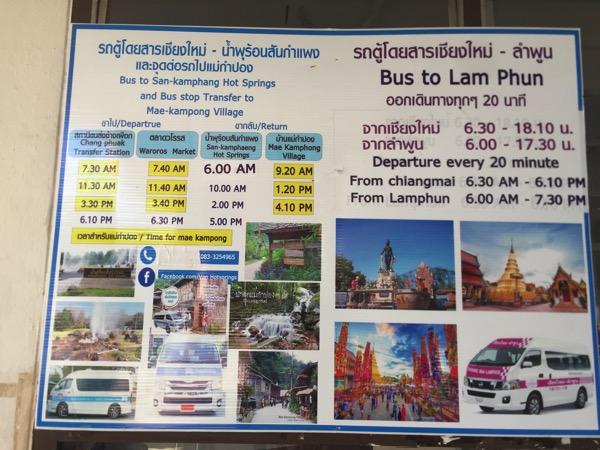 チェンマイ第一バスターミナルからサンカムペーン温泉ーメーガムポン行きバスの受付