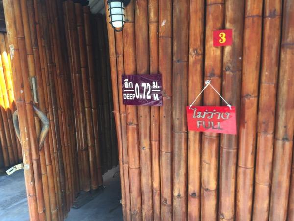 チェンマイ - ポーグワン温泉のバンガローの扉の表示