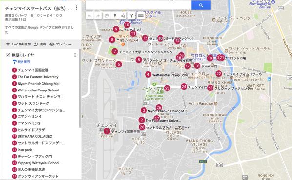 チェンマイスマートバス赤いバスの停留所