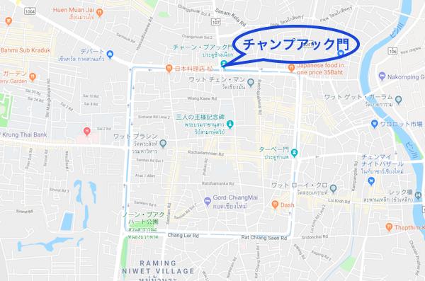 チャンプアップ門の地図