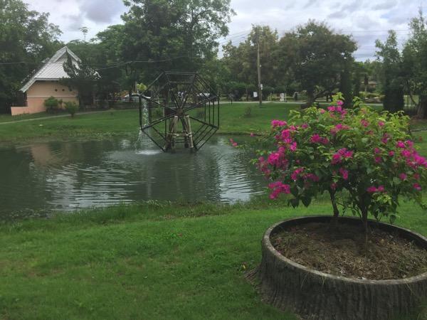 サンカムペーン温泉の池の水車