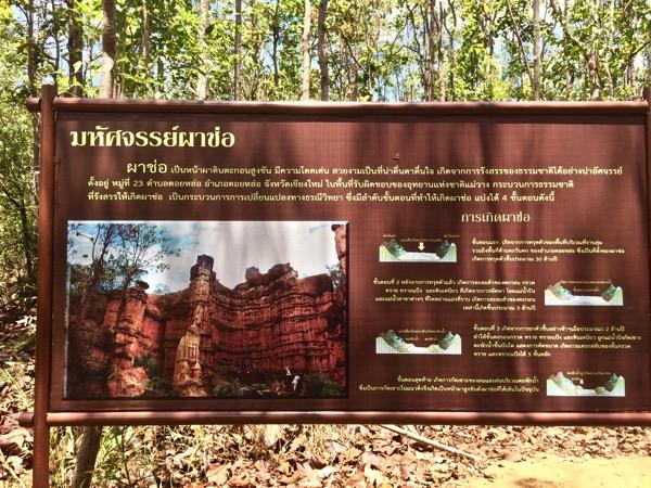 メーワン国立公園内にある大自然が作り出した大峡谷パーチョーを説明した看板
