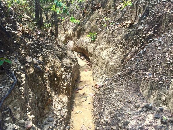 メーワン国立公園内にある大峡谷パーチョーの人一人通れる幅の小道