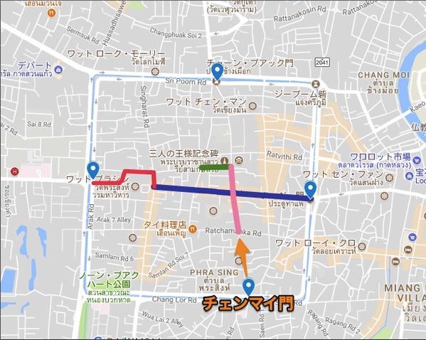 サンデーマーケットの地図-チェンマイ門入口