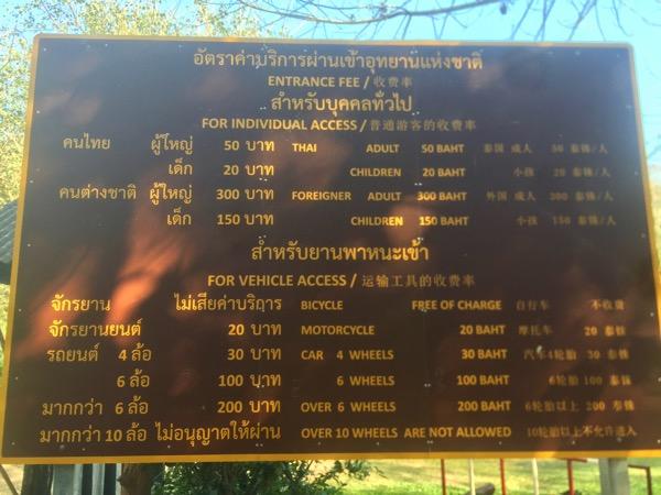 ター・パーイ温泉の料金表