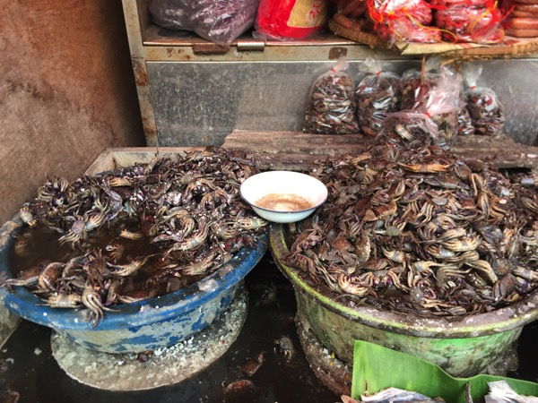 ムアンマイ市場で売っている田蟹の塩漬