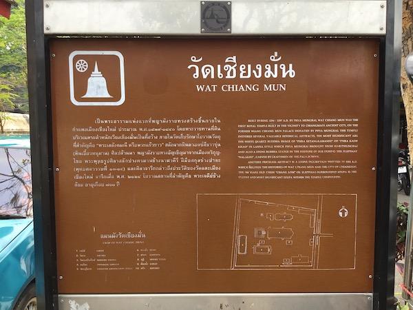 ワットチェンマンの建造物とその配置を記したパネル