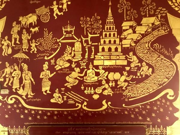ワットクムカム建立様子が描かれたワット・チェンマンの中央礼拝堂の壁画