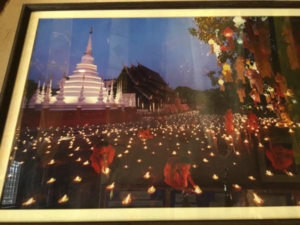 ワットパンタオの礼拝堂に飾ってあるイーペン祭りの時の写真