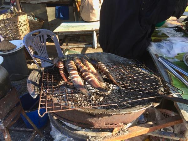 チェンコーンのローカル市場で売っているメコン川でとれた魚