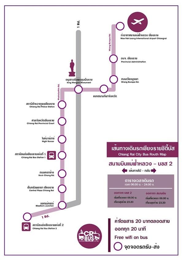 チェンライ路線バスの路線図