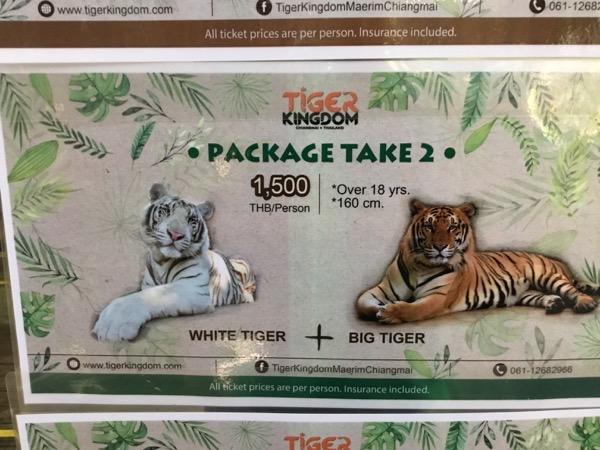 タイガーキングダム:パッケージ料金(虎2頭)