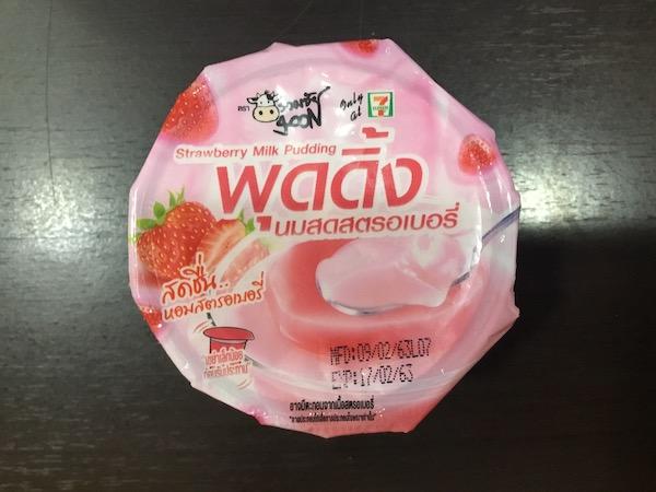 タイのゼブンイレブンで売っているイチゴプリンのパッケージ