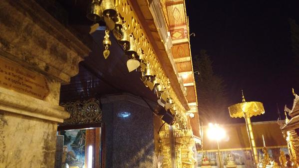 ドイステープ寺院の本堂に吊り下げられた風鈴