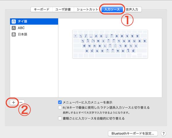 macシステム環境設定のキーボードの入力ソース
